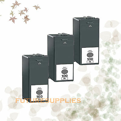 3PK Compatible Ink 100XL Black for Lexmark 100XL GENESIS S815 IMPACT S305 S605