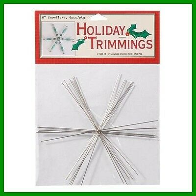 """SNOWFLAKE Wire FORM 6"""" Lot of 6 FLAKES ~U Add Beads ~ Dreamcatcher project"""