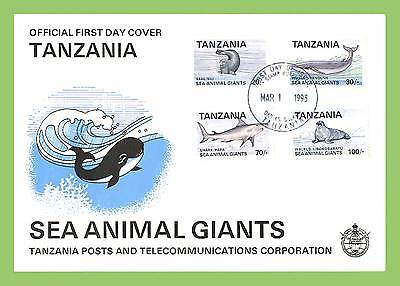 Tanzania 1993 Sea Animal Giants set on First Day Cover