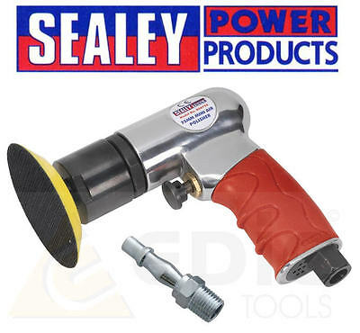 "Sealey 75mm 3"" Mini Lightweight Hook & Loop Air Polisher/Buffer/Buffing GSA722"