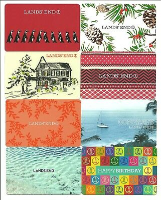 Lands End Lot of (8) New Gift Cards No $ Value Collectible Penguins Holiday