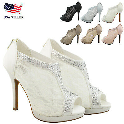 New Women's Sexy Lace Booties Open Toe High Heel Platform Dress Party Shoes