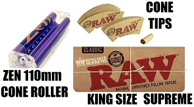 110mm CONE ROLLER+CONE Tips+RAW Unbleached KING SIZE SUPREME Rolling Papers