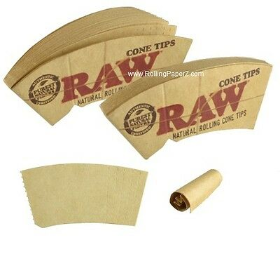 8 PACKS RAW NATURAL ROLLING PAPER CONE TIPS Fit 78mm,79mm,110mm and King Size