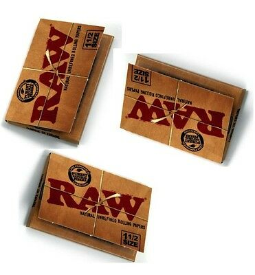 NEW! 3 Packs RAW 1 1/2 Size All Natural Unrefined Cigarette Rolling Papers