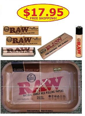 RAW Rolling Tray 7x11+Connoisseur Papers w/Tips+110mm Roller+Lighter+Scoop Card