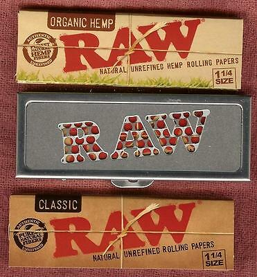RAW Rolling Paper Shred Case/Grinder + Packs of 1 1/4 Organic Hemp & Classic