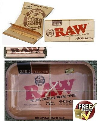Raw 7x11 Metal Rolling Tray+New ARTESANO KING SIZE Papers+110mm Rolling Machine