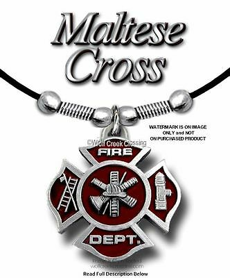 "Fire Fighter Necklace - Fireman Firefighter Rescue 24"" Leather Free Ship  #e*"