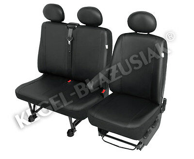 Delivery Van 2+1 ECO Leather Seat Cover Practical Black for Renault Trafic