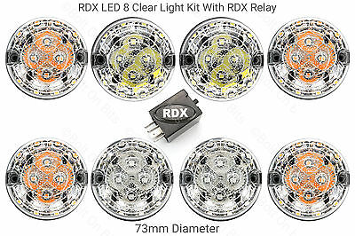 8 RDX 300Tdi ALL CLEAR LED 73mm Light/lamps Kit & for Land Rover Defender