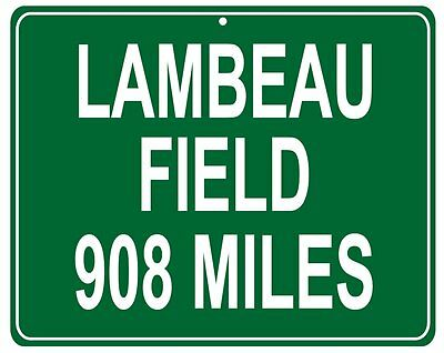 Green Bay Packers Lambeau Field mileage sign - custom distance to your house