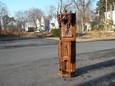Beautiful Original Walnut Gothic Carved Server Church Cabinet - Dr57