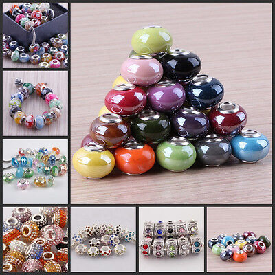 MIXED COLORS BIG HOLE EUROPEAN CRYSTAL BEADS FIT CHARM BRACELET WHOLESALE NEW