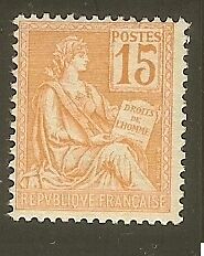 "FRANCE STAMP TIMBRE N°117 "" TYPE MOUCHON 15c ORANGE "" NEUF xx TTB"