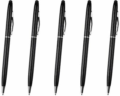 5x Black Stylus with Ball Point Pen ULTRA SMOOTH Rubber Tip Tablets iPad