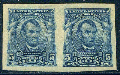 U.S. #315 Mint SUPERB NH Pair - 5c Lincoln, Imperf