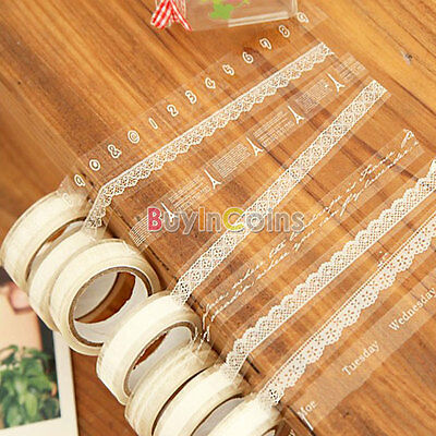 White Translucent Sticky Adhesive Various Pattern Tape Decorative Lace Stickers