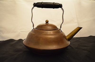 Old Vintage Antique Copper and Brass Metal Tea Coffee Pot Kettle w Lid