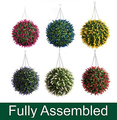 Best Artificial Lavender Lush Long Leaf Topiary Flower Ball Hanging Basket Plant