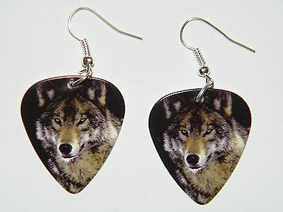 WOLF EARRINGS YOUNG GRAY WOLVES SILVER PLATED EAR WIRES PIX on Guitar Pick NEW!