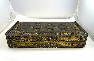 19Th Century Chinese Lacquer Chess Games Box