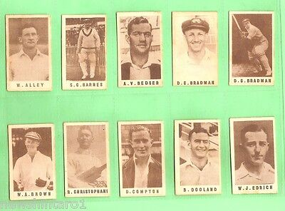 #s3. Rare Set Of G. J. Coles 1946-7 Cricketers Cards, Two Don Bradman Cards