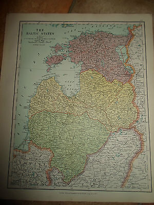 MAP c1920 THE BALTIC STATES From Stanfords London Atlas of Universal Geography