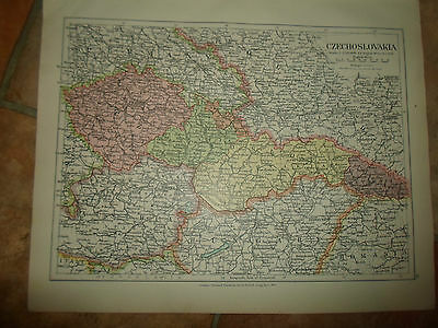 MAP c1920 CZECHOSLOVAKIA From Stanfords London Atlas of Universal Geography