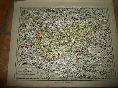 MAP c1920 HUNGARY Taken From Stanfords London Atlas of Universal Geography