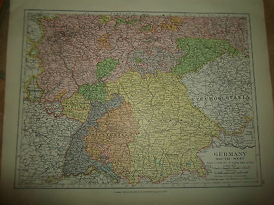 MAP c1920 GERMANY SOUTH WEST From Stanfords London Atlas of Universal Geography