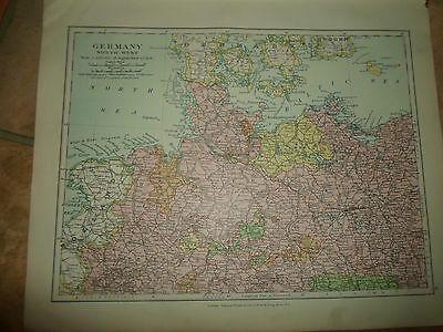 MAP c1920 GERMANY NORTH WEST From Stanfords London Atlas of Universal Geography