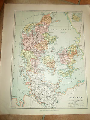 MAP c1920 DENMARK Taken From Stanfords London Atlas of Universal Geography