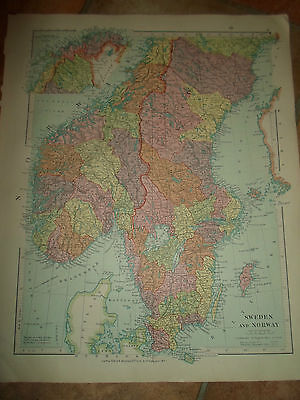 MAP c1920 SWEDEN+NORWAY From Stanfords London Atlas of Universal Geography