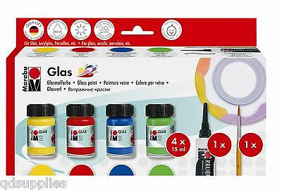 MARABU GLASS PAINT SET 4 x15ml COLOURS OUTLINER & BRUSH RED GREEN BLUE YELLOW
