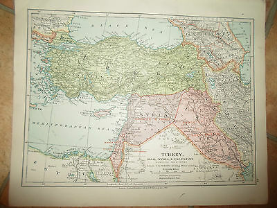 MAP c1920 TURKEY+IRAQ+ Taken From Stanfords London Atlas of Universal Geography