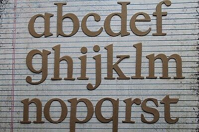 """2"""" chipboard Serif lowercase unfinished/raw alphabet diecuts 26 letters"""
