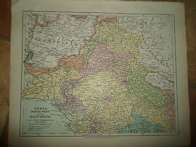 MAP c1920 INDIA NW+BALUCHISTAN Fm Stanfords London Atlas of Universal Geography