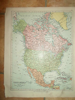 MAP c1920 NORTH AMERICA From Stanfords London Atlas of Universal Geography