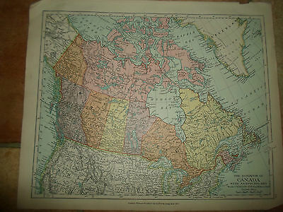 MAP c1920 DOMINION OF CANADA From Stanfords London Atlas of Universal Geography