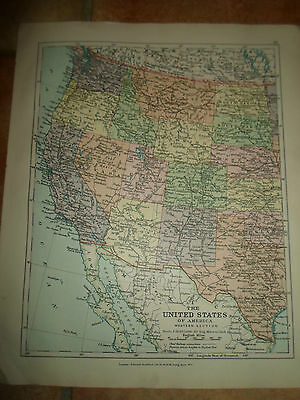 MAP c1920 THE USA WESTERN  From Stanfords London Atlas of Universal Geography