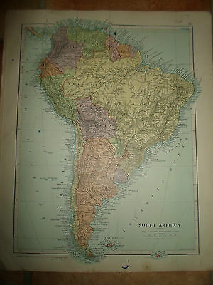 MAP c1920 SOUTH AMERICA From Stanfords London Atlas of Universal Geography