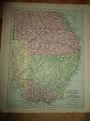 MAP c1920 SOUTH EAST AUSTRALIA  Stanfords London Atlas of Universal Geography