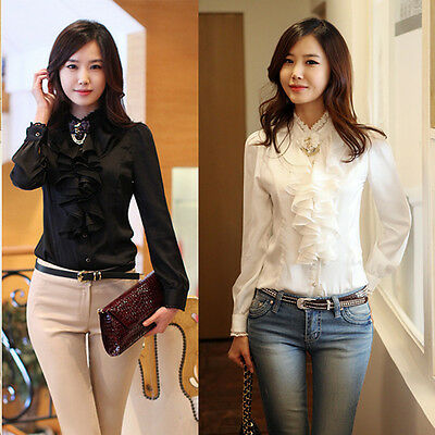 Sexy Women Silky Long Sleeve Lace Collar Ruffle Chiffon Slim OL Shirt Top Blouse