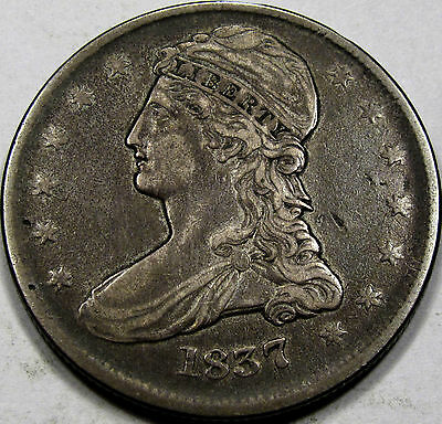 1837 RE Capped Bust Half Dollar Choice EF+... 100% Original with an Antique Tone