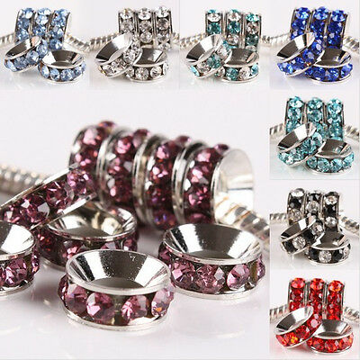 Mix Crystal Rhinestone Rondelle Wheel European Charm Bead Fits Bracelet Black...