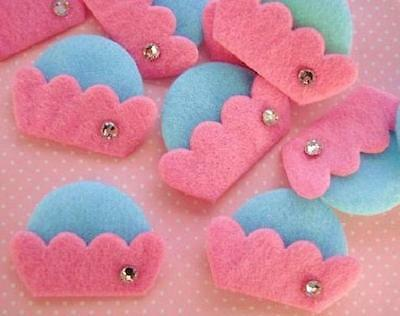 30 Pink/Blue Felt Cupcake with Glass Crystal Applique/Craft/Trim/Padded D19