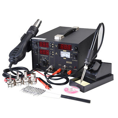853D 3in1 Soldering ReWork Station SMD Solder Iron Hot Air Gun & DC Power Supply
