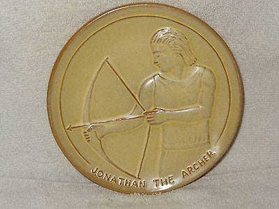 Rare Frankoma Teen Agers Of The Bible Jonathan The Archer Plate- Made in USA