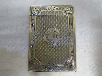 Antique Solid Sterling Silver Visiting Card Case Aeg&S Birmingham 1848